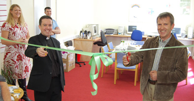 Fr Stephen McGrattan and Cllr Brian Connelly cut the ribbon